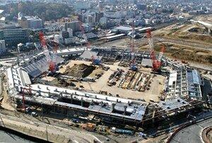建設が進むスタジアム(2018年11月、京都府亀岡市)