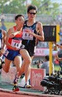 昨年の日本選手権5000メートルで6位に入ったトーエネックの中川(2018年6月、山口市)
