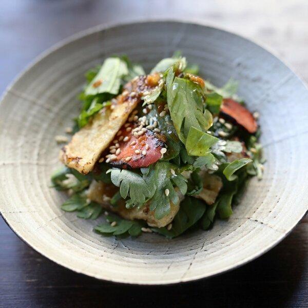 菊菜と金時にんじん、お揚げさんのサラダ
