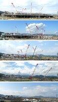 建設が進む京都スタジアム(下から2018年1月19日、6月12日、8月30日、10月29日、12月11日に撮影)