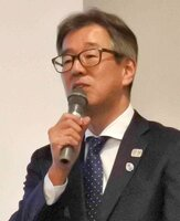 講演した森岡常務理事(京都市上京区)