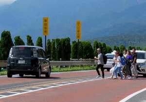車が激しく往来する国道161号を無理に横断しようとする観光客。事故の危険性が指摘されている ※画像の一部を加工しています