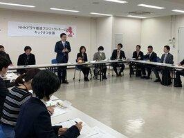PR方法を提案するプロジェクトチームのメンバーら(大津市・県庁)