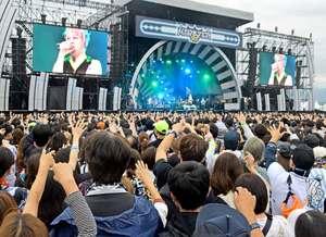 西川さんの力強い歌声で盛り上がったイナズマロックフェス(草津市下物町・烏丸半島芝生広場)