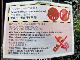 日本語のほか英語や中国語、韓国語で表記された注意書き