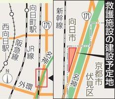 救護施設の建設予定地は、京都市と向日市の市境にある