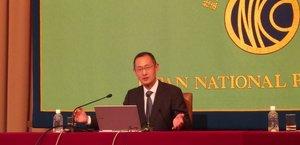 iPS細胞備蓄事業と国の財政支援の重要を訴えた山中教授(11日、東京都内)