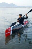 ワイルドウォーターの練習に励む奥田選手(滋賀県近江八幡市・西の湖)