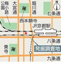 発掘調査地の地図