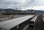 「大河ドラマ館」が開設される建設中の京都スタジアム(亀岡市追分町)