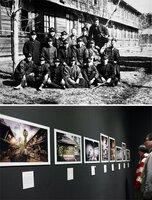 1926年ごろの吉田寮を写したとみられる写真(上、冨岡勝さん提供)、吉田寮の100年余りの歴史をたどる写真展の会場(京都市下京区・ルーメンギャラリー)