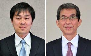 京都府舞鶴市長選に立候補した(左から)塚﨑泰史氏、多々見良三氏