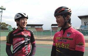 1月のアジア大会で団体追い抜きを制した四宮(左)と岡本=向日町競輪場