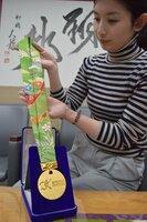 リボン部分を京友禅で染めた京都マラソンのメダル