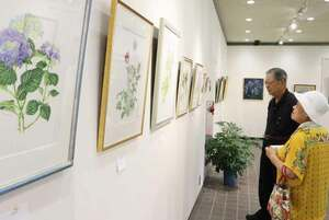 ボタニカルアートなど公募作品約90点が並ぶ会場(京都市左京区・府立植物園)
