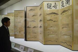 滋賀県内で初公開の屏風「湖魚奇観」などが並ぶ企画展(野洲市辻町・銅鐸博物館)