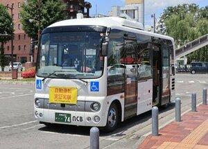 実証実験で使用する10人乗りの自動運転バス