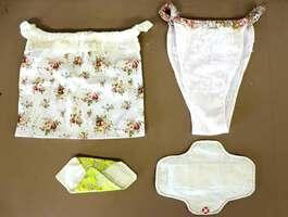 綿や麻で作られた「ふんどしパンツ(上)」と「布ナプキン(下)」