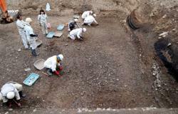 高陽院にあった平安京最大規模の池の発掘現場。複数の池からなるという新知見が示された(京都市中京区)