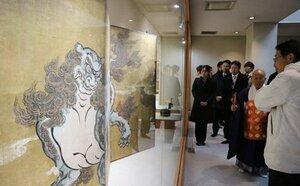 本法寺で公開されている唐獅子図屏風(京都市上京区)