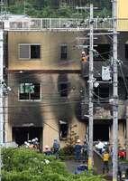 火災のあった京都アニメーションの第1スタジオで行われた現場検証(7月19日、京都市伏見区)