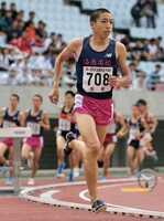 男子3000メートル障害決勝 8分39秒49の日本高校新記録で優勝した洛南の三浦(ヤンマースタジアム長居)