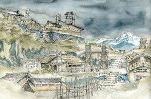 「大魔神逆襲」(1966年)のため西岡善信さんが描いた美術スケッチ