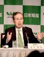 M&Aの狙いについて記者会見で説明する日本電産の永守重信会長(東京都内)