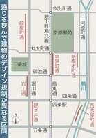通りを挟んで建物のデザイン規制が異なる区間