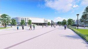 彦根市が建設案を発表した新市民体育センターのイメージ図。スポーツ機能と交流機能の融合を目指す