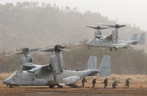 陸上自衛隊饗庭野演習場で実施されている日米共同訓練(3日、高島市今津町)