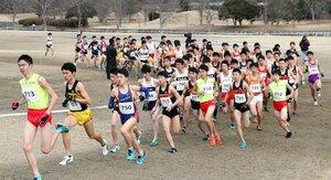 天然芝のコースを力強く駆け抜ける選手たち(17日午前11時30分、滋賀県野洲市・希望が丘文化公園)