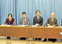 参院選に向けて共通政策を発表する野党4党の滋賀県連代表者(滋賀県庁)