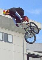 BMXフリースタイル・パーク男子決勝 華麗な技を披露する中村(京都向日町競輪場)