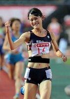 日本選手権3000メートル障害で優勝したエディオンの石沢(2018年6月、山口市)