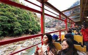 運転を開始した嵯峨野トロッコ列車からの景色を楽しむ外国人観光客