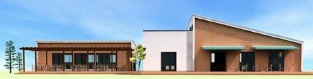 カフェやイチゴの摘み取り体験をする建物のイメージ図(大五農園提供)